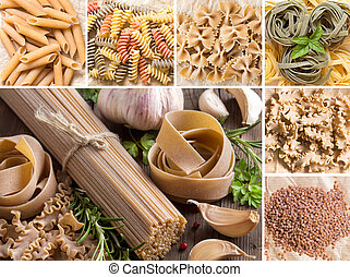 Collage of whole wheat italian pasta with garlic and herbs on wood