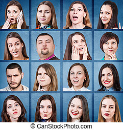 Collage of woman different emotions