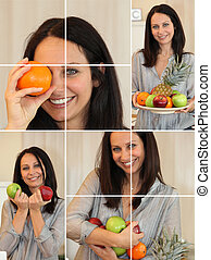Collage of woman holding a variety of fruit
