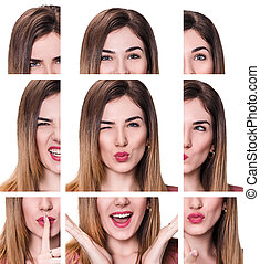 Collage of woman with different expressions