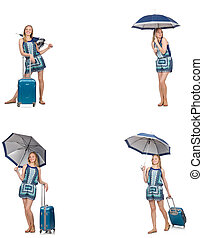 Collage of woman with umbrella and suitcase