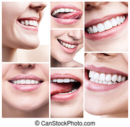Collage of women with healthy teeth.