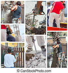 Collage of workers at work.