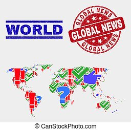 Collage of World Map Symbol Mosaic and Grunge Global News Seal