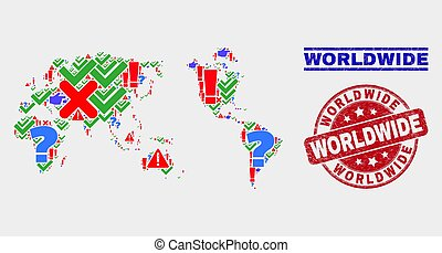 Collage of Worldwide Map Symbol Mosaic and Distress Worldwide Stamp Seal