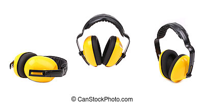 Collage of yellow ear muffs.