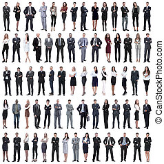 collage of young business people standing in a row.