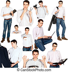 collage of young man with office ob