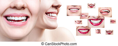 Collage of young woman near collage with health teeth.