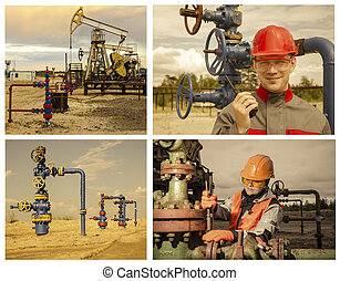 collage, oilfield