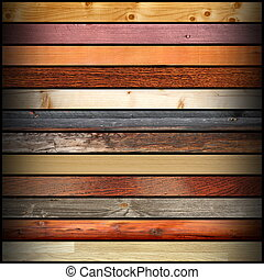 collage, olik, ved planka, färgrik