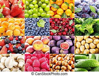 collage, olika, frukter