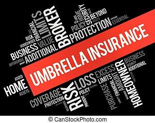 collage, ombrello, parola, assicurazione, nuvola