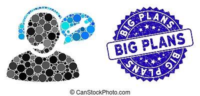 Collage Operator Service Message Icon with Textured Big Plans Stamp