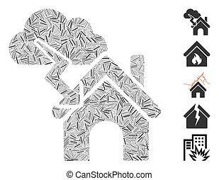 collage, orage, icône, tiret, bâtiment