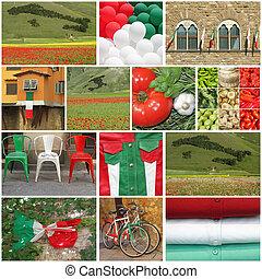 collage, orgoglio, italiano