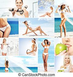 collage, over, afslanken, gezond etend, fitness, sportende, voeding, en, gezondheidszorg