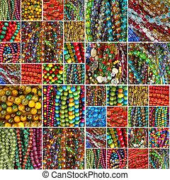 collage, pärlhalsband