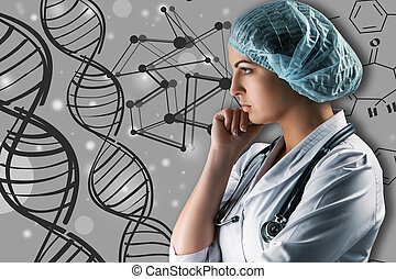 collage, på, videnskabelige, topics., unge, kvindelig doktor, beliggende, imod, grån baggrund