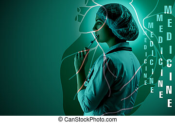 collage, på, videnskabelige, topics., unge, kvindelig doktor, beliggende, imod, hjerte, baggrund