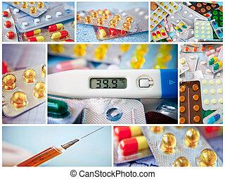 collage, píldoras