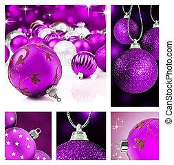 collage, púrpura, navidad, decoración