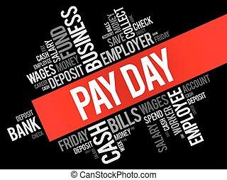collage, płacić, słowo, dzień, chmura