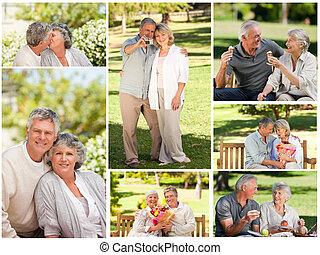 collage, paar, park, middelbare leeftijd