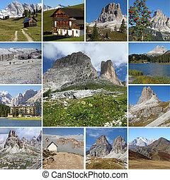 collage, paesaggio, alpino