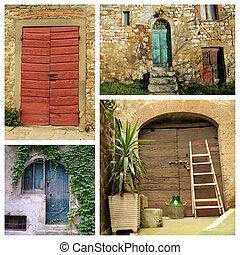collage, paese, colorito, porte