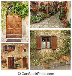 collage, paese, stile di vita, italiano