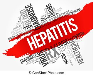 collage, palabra, hepatitis, nube
