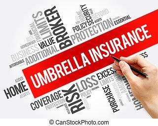 collage, paraplu, woord, verzekering, wolk