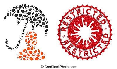 collage, parapluie, coronavirus, soin, restreint, patient, cachet, grunge, icône