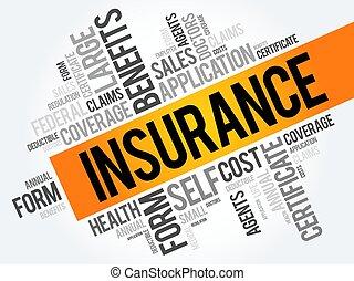 collage, parola, assicurazione, nuvola
