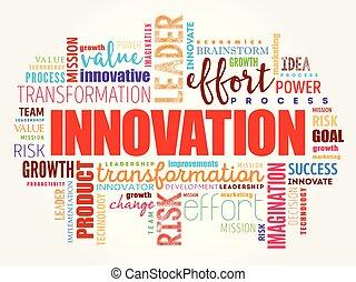 collage, parola, nuvola, innovazione