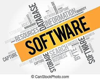 collage, parola, nuvola, software