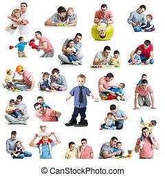 collage, paternité, duper, bébés, paternité, dads., gosses