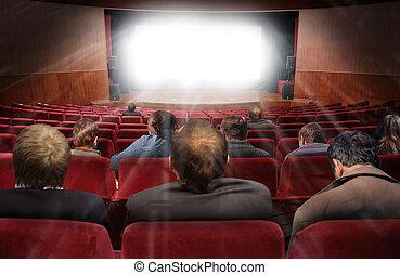 collage, película, espectadores, vestíbulo, cine