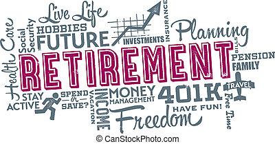 collage, pensionamento, pianificazione, parola
