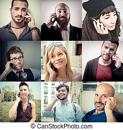 collage people on the phone
