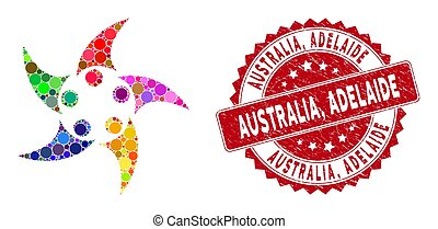 Collage People Union with Textured Australia, Adelaide Seal