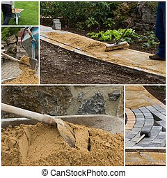 collage, percorso, costruzione