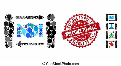 Collage Persons Handshake Exchange Icon with Grunge Welcome to Hell! Stamp