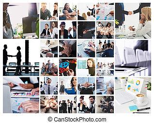 collage, persoon, werken, scène, zakelijk