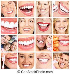 collage., pessoas, dentes