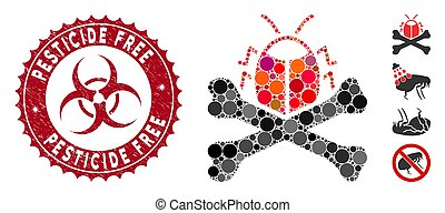 Collage Pesticide Icon with Grunge Pesticide Free Stamp