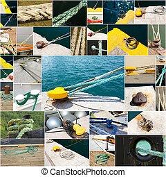 collage, photo, bateaux, port, amarrage