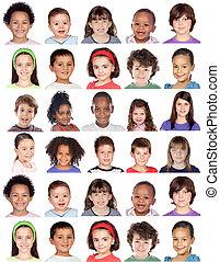 collage, photo, enfants