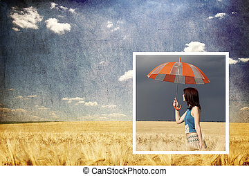 Collage photo. Girl with umbrella in storm at wheat field inside photo and sunny day at background.